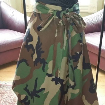 High Low Camouflage Wrap Skirt Camo Army Skirt