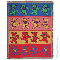 Grateful Dead - Dancing Bears Throw Blanket on Sale for $59.99 at HippieShop.com