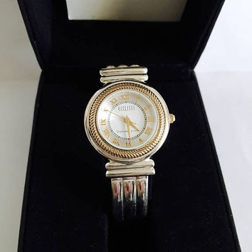 Vintage ECCLISSI Lady's Sterling Silver Quartz Watch with Round, Gold Rope Accented Face and Sterling Bangle Bracelet Style Band Watch