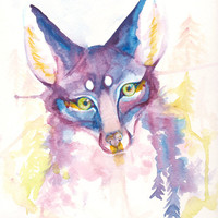 Purple Green eyed Fox  Watercolor