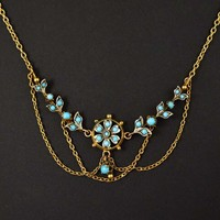 Antique Edwardian Turquoise Festoon Chain Necklace C 1900