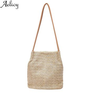 Aelicy Women's Handbags Hasp Messenger Bags for Woman Straw Ladies Crossbody Bag Shoulder Bags Vintage Summer bolsa feminina