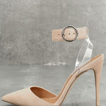 Diva Blush Suede Leather Lucite Heels