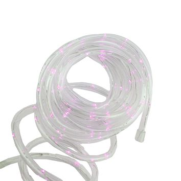12' Solar Powered Multi-Function Pink LED Indoor/Outdoor Christmas Rope Lights with Ground Stake