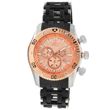 Invicta 80026 Men's Sea Spider Rose Gold Dial Steel & Rubber Bracelet Chronograph Watch