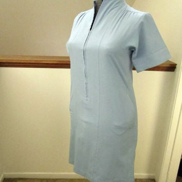 1970s Short Sleeve Pin-tucked House Dress, Anjac by Jack Needleman, Size 6,