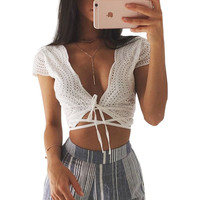 Women Blouses Fashion Soft Tops Fresh Style Women Blouses 2016 Summer V-Neck Solid White Short Sleeve Women Crop Blouse