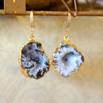 Luminous Starry Night Geode Druzy Earring - Agate Geode - Geode Earrings - Geode Jewelry - Druzy Earrings - Druzy Jewelry