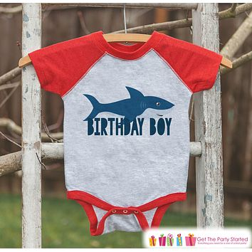 Boys Birthday Outfit - Shark Birthday Boy Shirt or Onepiece - Youth, Toddler, Baby Birthday Outfit - Red Baseball Tee - Kids Baseball Tee