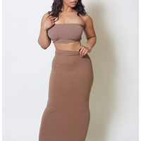 Chestnut Maxi Skirt/Tube Dress (fits up to plus) – Babes And Felines