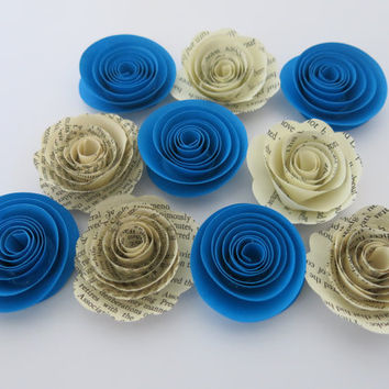 "Blue and old Book page paper flowers, 10 piece set, 1.5"" roses, bright blue wedding theme, baby shower decor, bridal shower decorations"