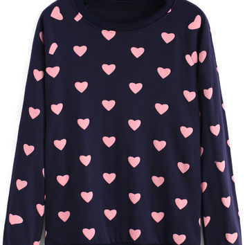 Navy Heart Print Ribbed Sweatshirt
