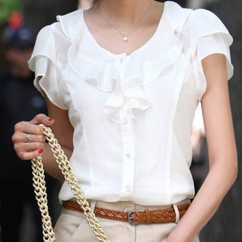 Women Fashion Ruffles Chiffon Blouse