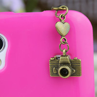3.5mm Retro Bronze Camera  Dust-proof Plug  for iphone 4s,iPhone 4,iPhone 3gs,iPod Touch 4,HTC,Nokai,Samsung,Sony