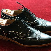 Black Half Brogue  Handmade Leather Men Shoes by Kwnstantinos