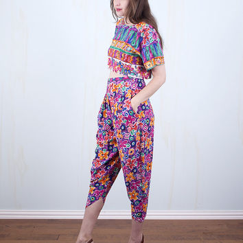 90's Crop Top & Harem Pants Two-Piece Outfit Neon Bright Crazy Floral Hipster Grunge Hip Hop / Small Medium