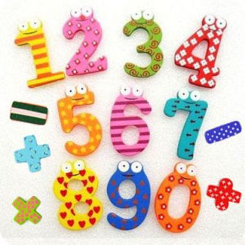 DCCKL72 Hot marketing 15pcs Fridge Magnets Magnetic Wooden Math Toy Early Learning Montessori Educational Toys Wooden Maths Toys W090