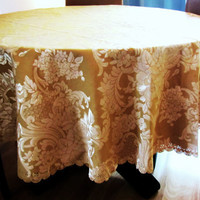 vintage golden round tablecloth