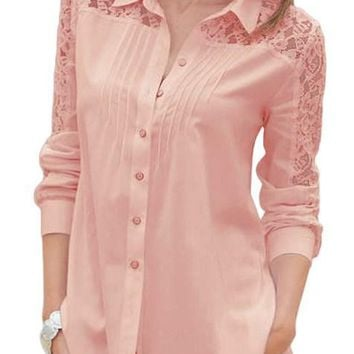 Fashion Pink Lace Splice Long Sleeve Button Down Shirt