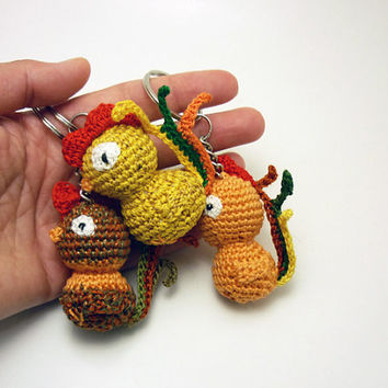 Rooster key chain, Fun zipper charm, Crochet rooster, Unique gift for kids, Cock-a-doodle-doo, Cute stuffed toy, Rooster zipper charm