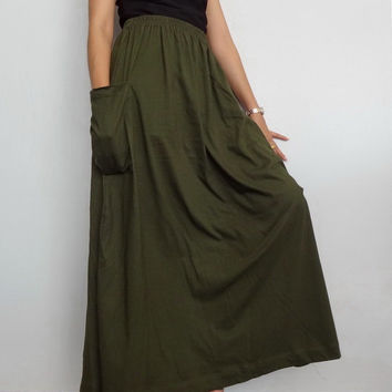Women Maxi Long Skirt , Casual Gypsy, Bohemian , Cotton Blend In Green (Skirt *M11).