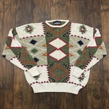 Vintage 90s Thornton Bay Hand Knitted Southwestern Print Cotton Sweater Mens XL