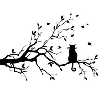 Cartoon Cat On Long Tree Branch Wall Sticker
