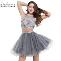 Babyonline Real Photo 2 Piece Short Prom Dresses Shinny Beaded Crystal Halter Party Dresses Grey Dress For Graduation