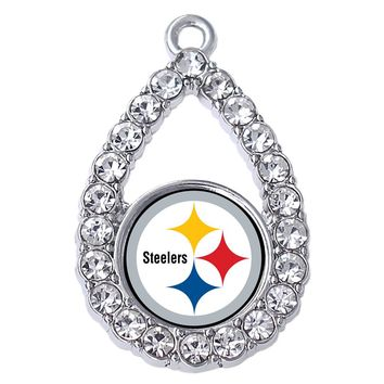 Exquisite Pittsburgh Steelers logo pattern sticker metal pendant for best football jewelry DIY accessories