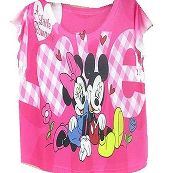 Womens Hot Pink  Mickey Mouse and Minnie T-Shirt Top (China Sizi e7f88c6f08