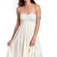 White Strapless Pleated Frills Chiffon Dress
