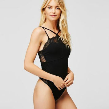 Sexy pure black lace underwear Lingerie one piece bikini show thin