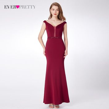 Burgundy Prom Dresses Mermaid Party Ever-Pretty EP07272  Beaded Floor-Length Formal Evening Gowns Satin V Neck vestido longo