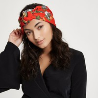 Red cheetah print knot front headband - Hair Accessories - Accessories - women