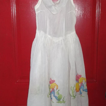 1960s Vintage Girls' or Small Woman's Mexican Theme Dress in White Organza by Gwen Sue Griffin, Size Small, Vintage Costume Dress, Clothing