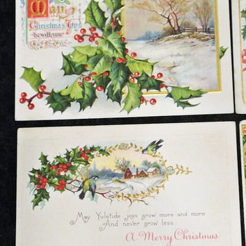 Antique Postcards Lithograph Christmas Set of Four Victorian Era Embossed Holly Circa 1900s Beautiful Vibrant Graphics Scrapbook Projects