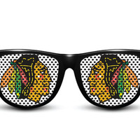 Chicago Blackhawks Custom Made Glasses by CloudsOfficial on Etsy