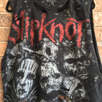 Slipknot // t shirt// grunge// cut off // band shirt // concert shirt // rock // cropped tee//distressed rock shirt// bleached