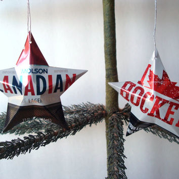 Recycled Molson Canadian Hockey Beer Can Aluminum Stars - Set of 2 Christmas Ornaments Or Father's Day Gift