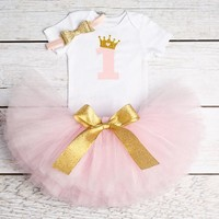Baby Girl  3pcs 1st Birthday outfit