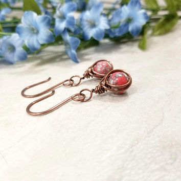 Red Mosaic Earrings - Red Jewelry - Unique Copper Earrings - Herringbone Jewelry - Jewelry Gift