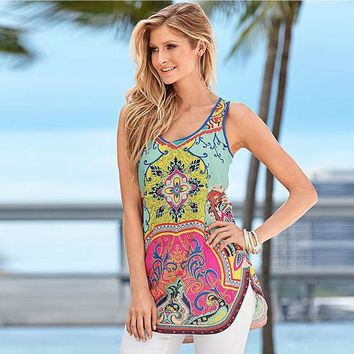 2016 New Arrival Sexy Women Summer Printed Vest Top Sleeveless Side Split Beach Shirt Blouse Tank Tops Free Shipping