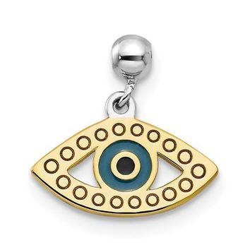 Sterling Silver Mio Memento Rhodium And Gold Tone And Enamel Eye Charm