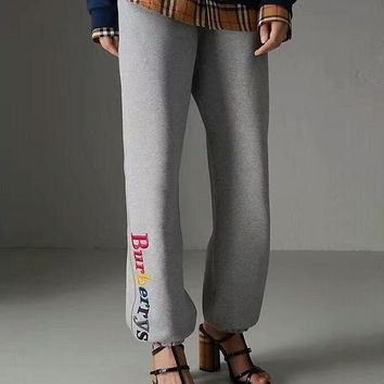 """""""Burberry""""Fashion New Style Women Causal Colorful Letter Embroidery Drawstring Sport Stretch Pants Trousers Sweatpants I-ZYHFS"""