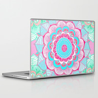 Tropical Bloom - floral doodle in pink, mint, peach, aqua, white Laptop & iPad Skin by micklyn
