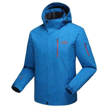 Plus Size Climbing Outdoor Water Repellent Detachable Hood Jackets for Men