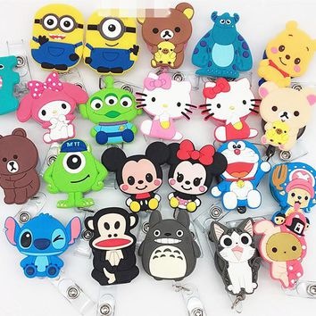10pcs Newest Kawaii Cartoon Animals Retractable Stretchable Reel ID Name Card Badge Holder For School Office Company Supplies