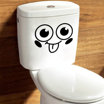 Big Eyes 3D Toilet Stickers WC Wall Decoration Diy Vinyl Home Decal Art Waterproof Poster Cartoon Sticker On The Toilet Mural