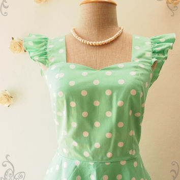 Seafoam Green Polka Dot Dress Bridesmaid Dress Retro vintage Ruffle Sleeve Dress Cute Tea Party Dress Retro Dress -XS-XL,Custom