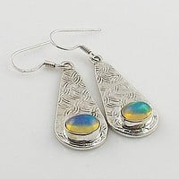 Ethiopian Opal Textured Sterling Silver Earrings